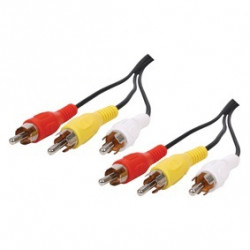 Audio video cable 3 rca male to 3 rca male cable , 521/5 cord 5m camera monitoring konig