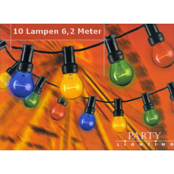 Outdoor party light chain 6.2m 10 coloured lamps