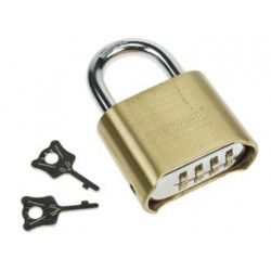 Combination padlock 50mm security 4 numbers opening closing security lock 4 dial brass
