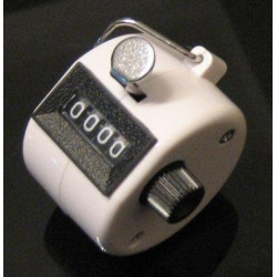 White Handheld Tally Counter 4 Digit Display for Lap/Sport/Coach/School/Event