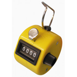 Yellow counter manual button click hand tally mechanical 4 digit number counts 0-9999