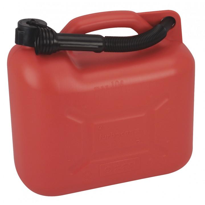 Jerrican 10l plastique rouge 10 litres 146439 bec verseur homologué gasoil essence produit chimique