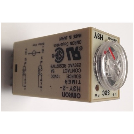 Delay timer dc 12v 0~60 second h3y-2 & base relay electric time lapse 12vdc  2 no nc 5a 250v - Eclats Antivols