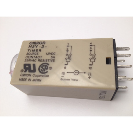 H3y-2 dc 12v delay timer time relay 0-10 minute 10m base electric time  lapse 12vdc 2 no nc 5a 250v - Eclats Antivols