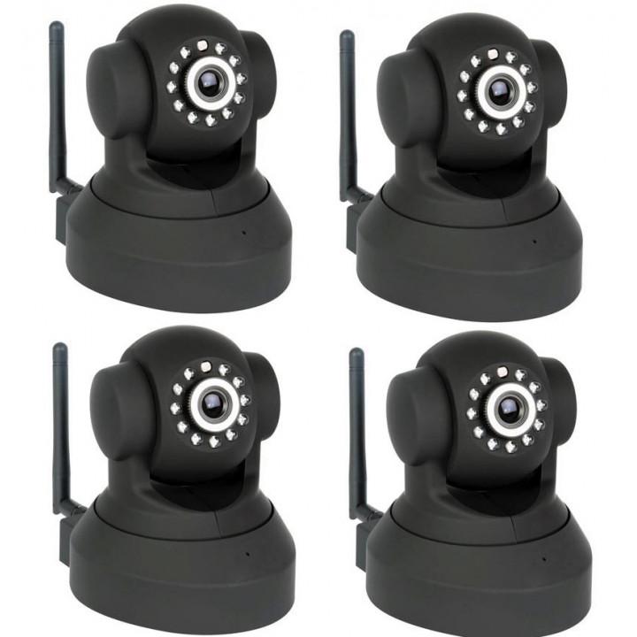 4 motorizado ip cámara inalámbrica de vídeo en color quadra iphone compatible audio pan tilt detector de movimiento camip4