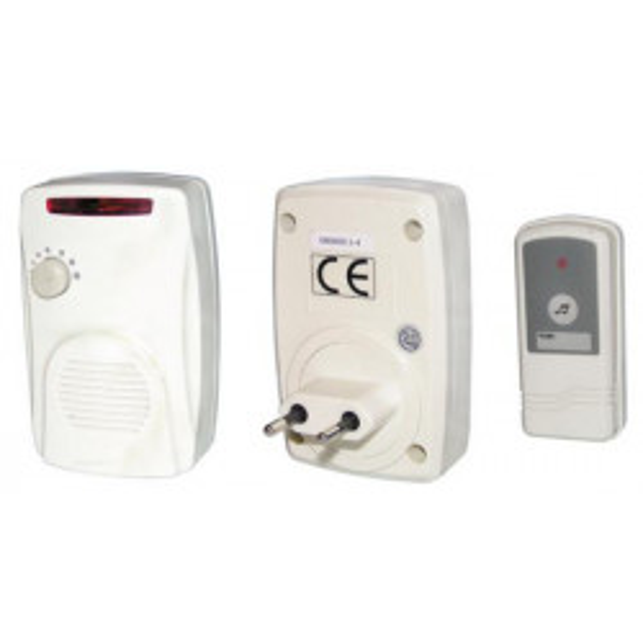 Carillon de porte sans fil prise 220v bouton panique etanche sonnette sonnerie alarme lx103