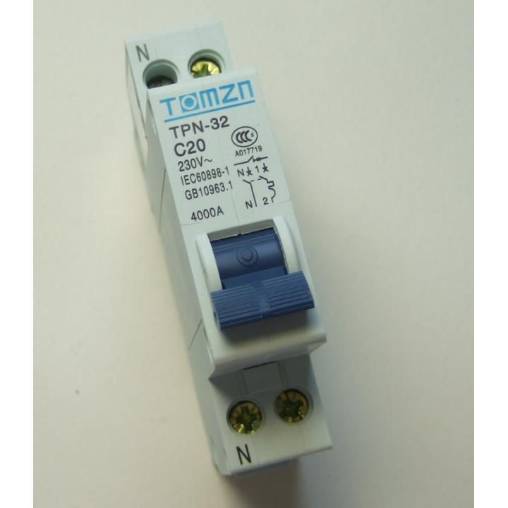 Disyuntor 2p 20a 230v electronico montaje en riel modular.