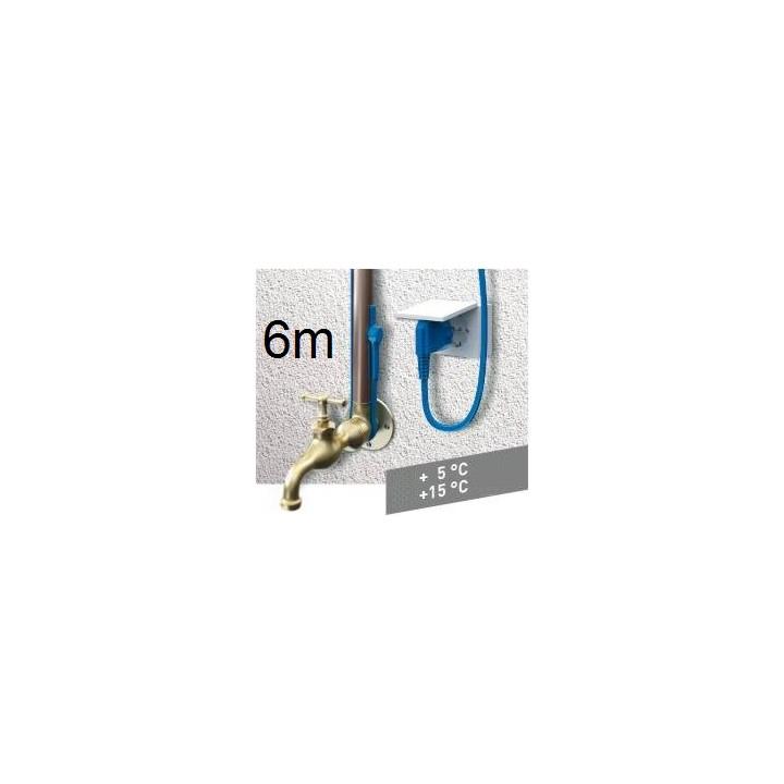Cable chauffant avec thermostat antigel aquacable-6m canalisation tuyau anti gel cordon electrique