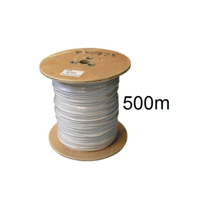 500m cable 6x0,22 souple blinde blanc ø4.5mm fil 6x0.22 avec ecran cablage alarme telephone