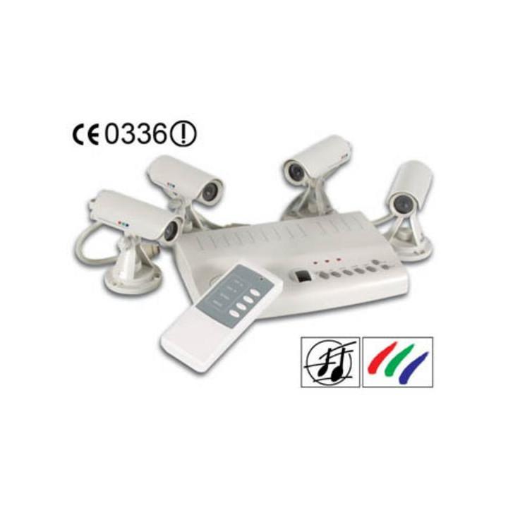 Pack surveillance audio video a/v camset13 avec 4 cameras filaires telecommande videosurveillance