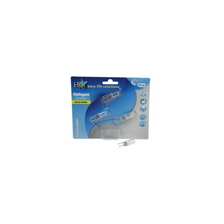 Blister pack of 3 bulbs halo-e-safe caps g6.35 12v 35w 28w gu4 h-g635-01 lamp light lighting