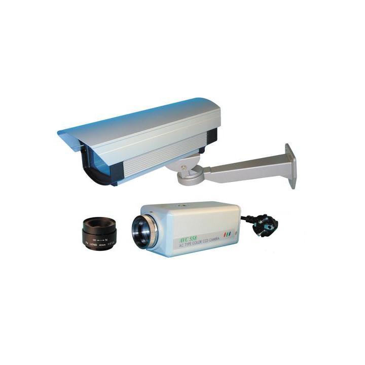 Pack camera surveillance video couleur  objectif video 4mm coffret protection exterieure