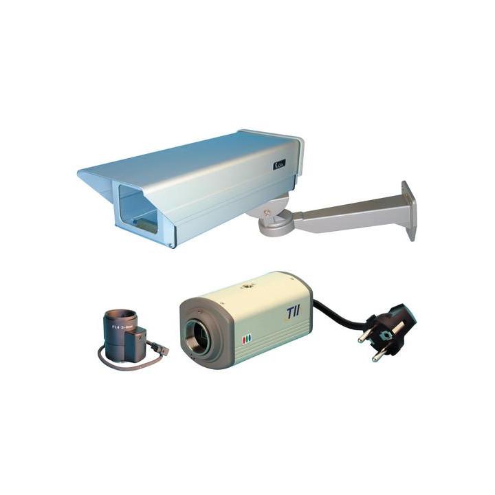 Kit camara vigilancia video colores + objetivo avasallado + cofrecito proteccion por fuera