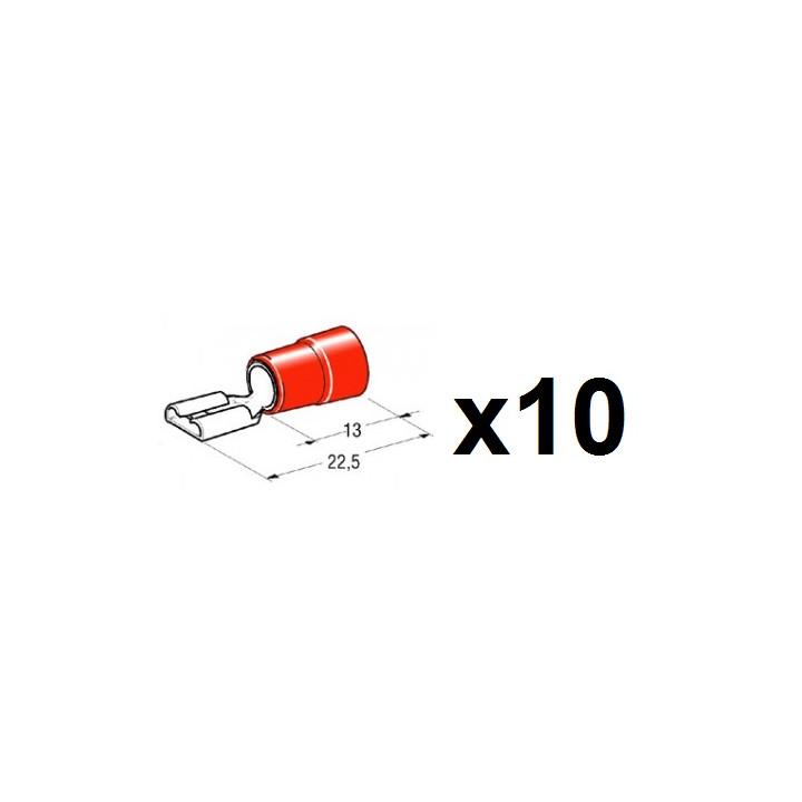 Lot de 10 cosses femelle faston rouge 6.4mm 6,3x0,8mm pour cable 0.5 a 1mm2 coipo1563cg-r