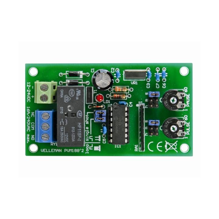 Minuteur impulsion pause 1sec 60h 12v 24v cc relais mk188 temporisation clignotement eclairage