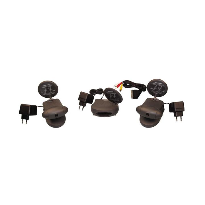 Pack 2 camaras color inhalambrico + receptor video 2.4ghz 4 canales avmod10 vigilancia video