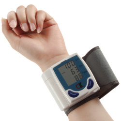 Portable home digital wrist blood pressure monitor watch senser, heart beat meter,lcd display 60memories.