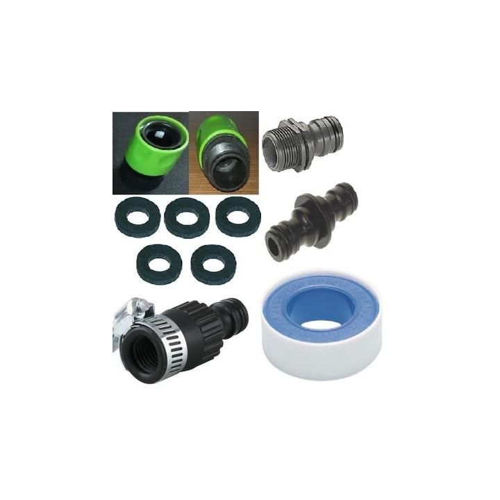 Kit adaptateur robinet jardin prolongateur gardena © 5 joint teflon raccord tuyau extensible x hose