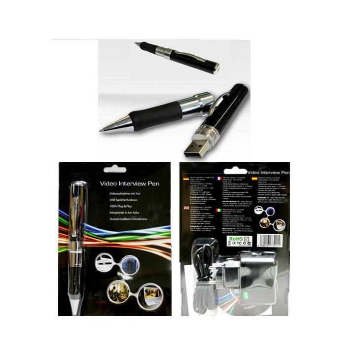 Pen spy camera audio video recorder max 16gb monitoring discrete espionage