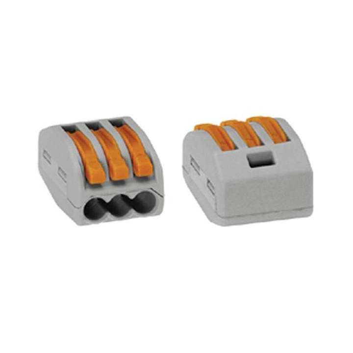 1 borne wago grise de 2 connexions pour conducteurs souples ou rigides de 3 x 0.08-4mm wg222413