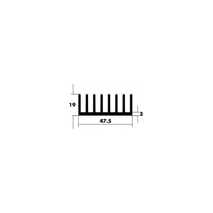 Black aluminum heatsink radiator comb sun: 47.5x10x3mm long: 1000mm ref: qurawa4101000