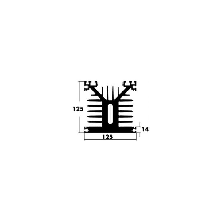 Black high sink 125x125x200 mm aluminum radiator diisspation sole 14mm ref: qurawa820200