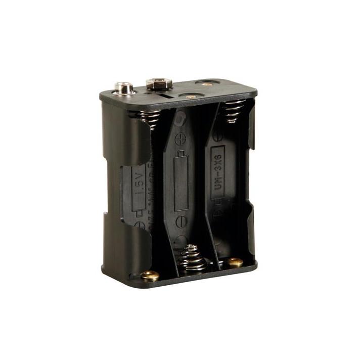 Coupleur de 6 piles aa lr6 r6 avec contacts a pression boitier coffre bh363b