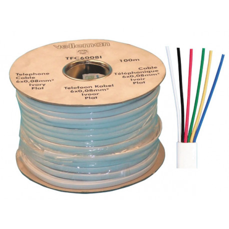 flat telephone cable, 6 wires for rj09, rj11, rj12, 100m phone cable