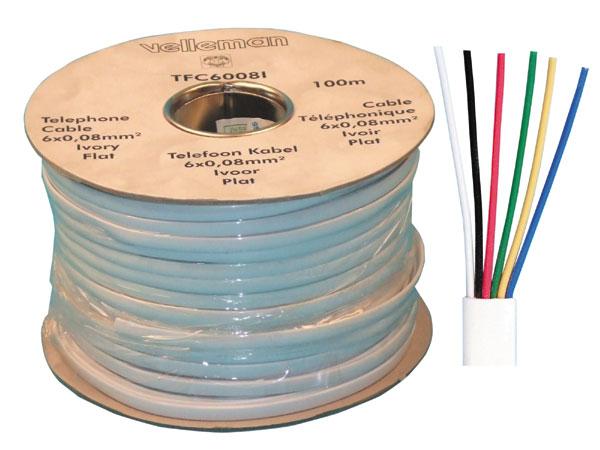 Flat telephone cable, 6 wires for rj09, rj11, rj12, 100m phone cable fire  alarm cable signal cable sheathed cable burglar securi - Eclats AntivolsEclats Antivols