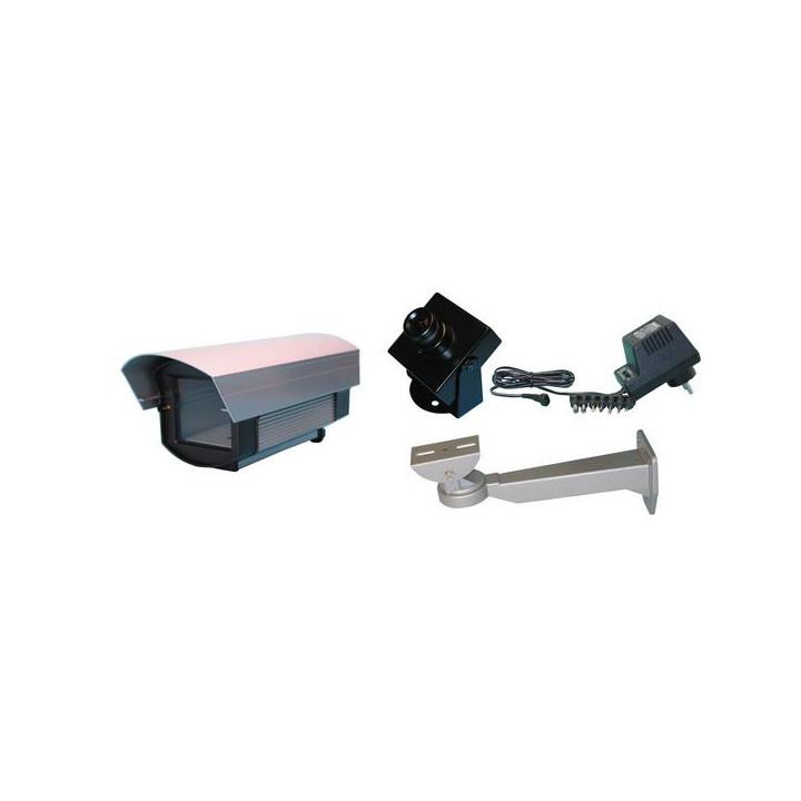 Kit camera videosorveglianza nero e bianco+coffanetto protezione esterna videosorveglianza