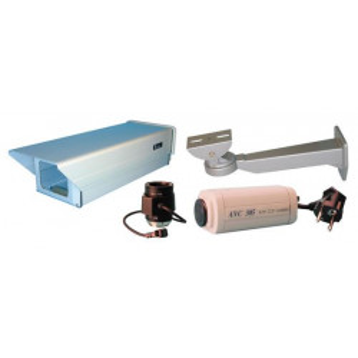 Pack camera surveillance video noir blanc objectif asservi coffret protection exterieure