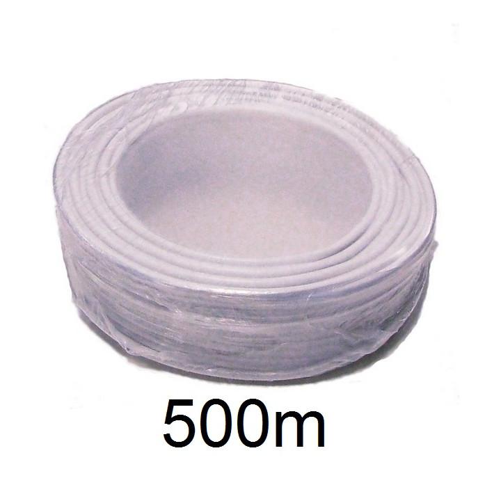 Cable 8x0.22 2x0.75 souple blinde blanc ø6.7mm (500m) fil 8x0,22 2x0,75 avec ecran cablage alarme