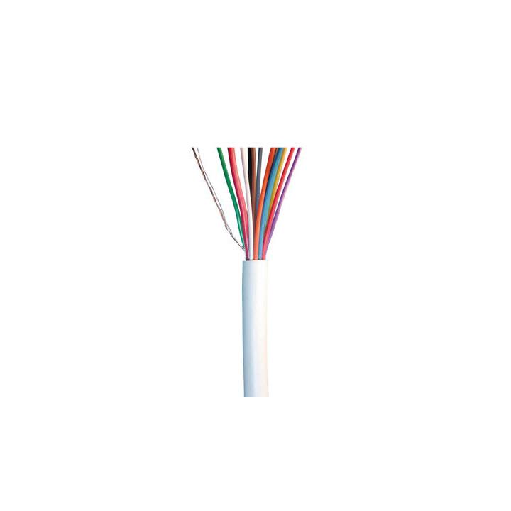 Cable 10x0,22 2x0,75 souple blinde blanc ø7mm (le mètre) fil telephone avec ecran cablage alarme