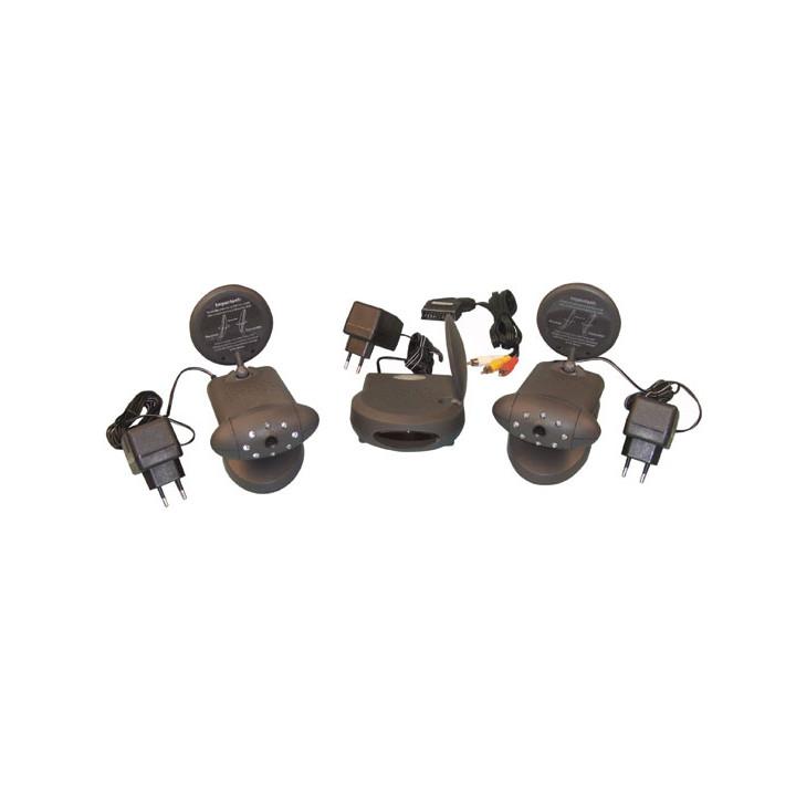 Pack 2 drahtlose kamera s w+ videoempfanger 2.4ghz 4 kanale avmod9 drahtlose uberwachung