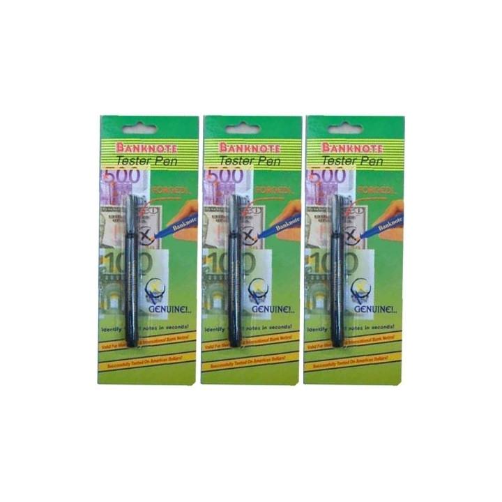 3 stylos feutres detecteurs testeurs faux billet euro detector detection usd 14 devises