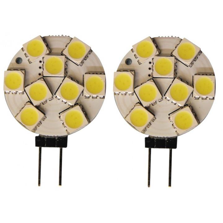 2 lampara led 12v g4 9 leds smd blanco frio 25mm casquillo g4 luz bombilla alumbrado bulb lamp