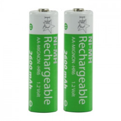 2 pcs hq nimh 1.2 v 2600 mah rechargeable aa batteries