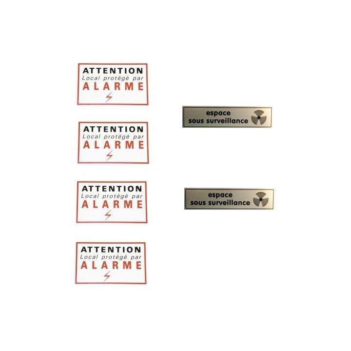 Conjunto de 4 etiquetas de advertencia cuidadosamente + 2 etiquetas espacio bajo vigilancia