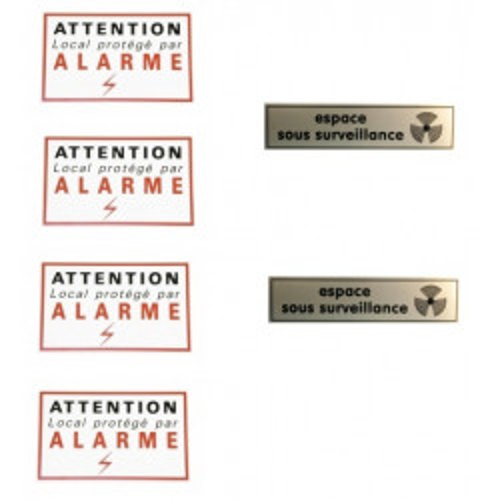 Lot de 4 etiquettes attention alarme + 2 etiquettes espace sous surveillance