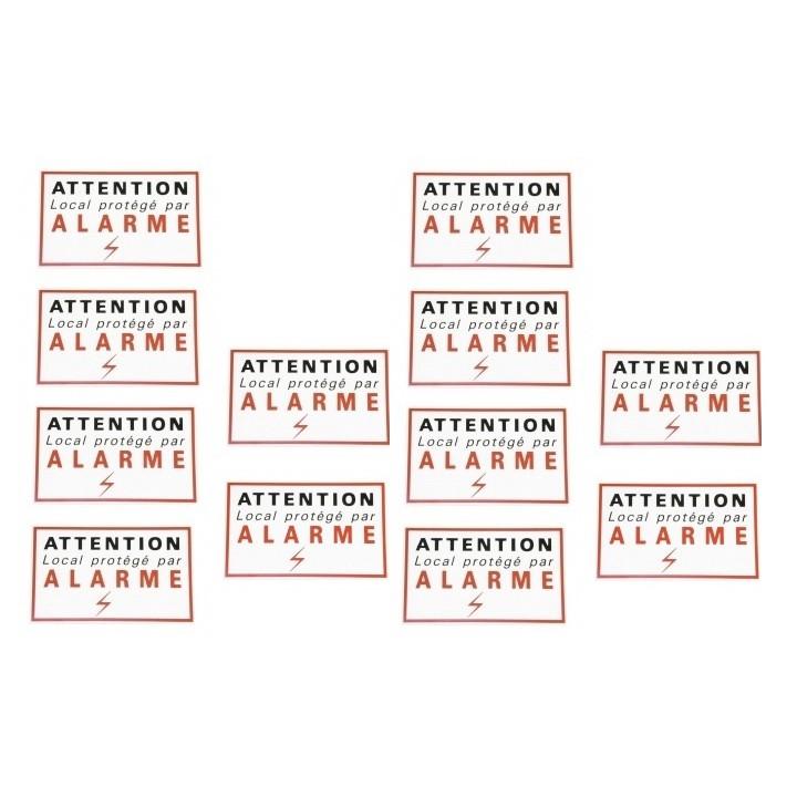 12 adesivi etichette adesive di segnalazione di allarme autocolant protezione sicurezza deterrente