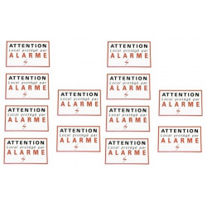 12 adhesive sticker labels signaling alarm security autocolant deterrent protection