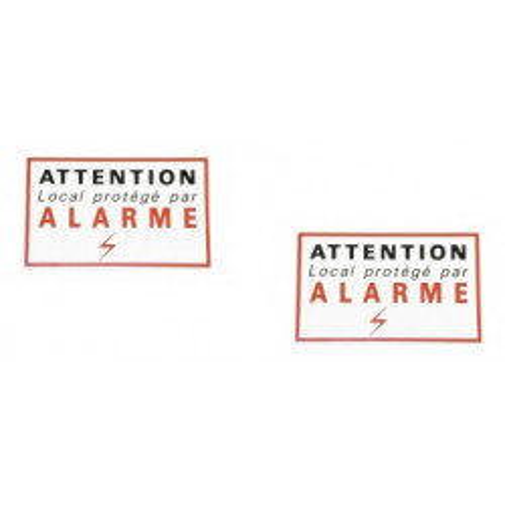 2 adhesive sticker labels signaling alarm security autocolant deterrent protection
