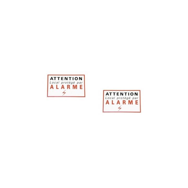 2 etiquettes signalisation adhesive sticker alarme securite autocolant dissuasive protection