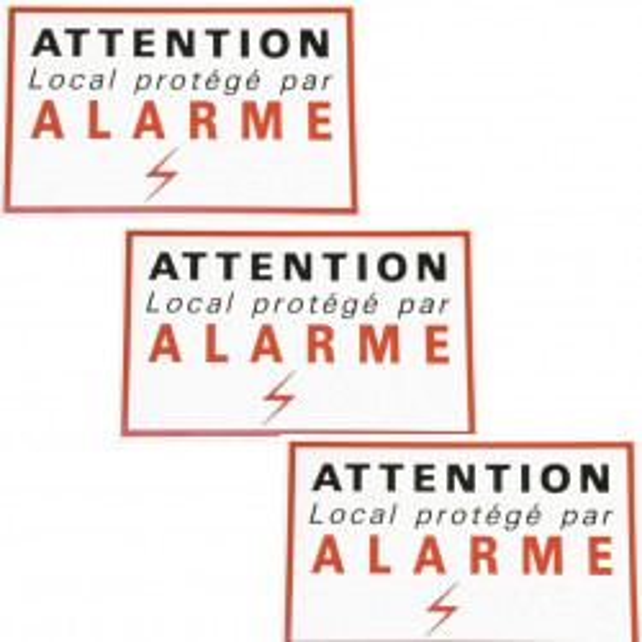 3 adhesive sticker labels signaling alarm security autocolant deterrent protection