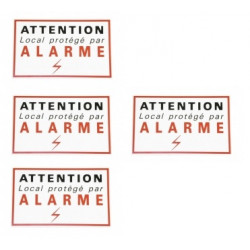 4 etiquettes signalisation adhesive sticker alarme securite autocolant dissuasive protection