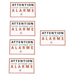 5 etiquettes signalisation adhesive sticker alarme securite autocolant dissuasive protection