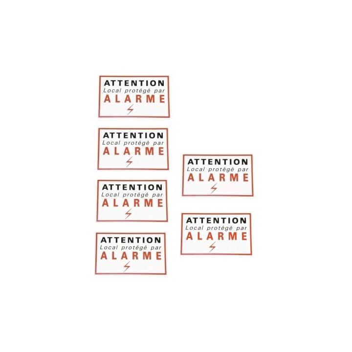6 adhesive sticker labels signaling alarm security autocolant deterrent protection