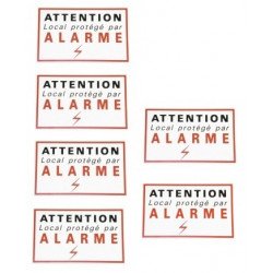 6 etiquettes signalisation adhesive sticker alarme securite autocolant dissuasive protection