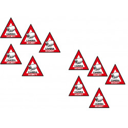 10 etiquettes adhesive dissuasive panneau sticker camera sec st cs security autocollant surveillance