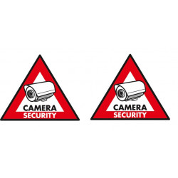 2 etiquettes adhesive dissuasive panneau sticker camera sec st cs security autocollant surveillance